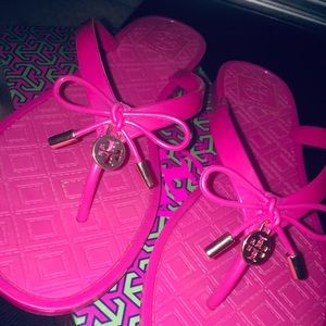 Tory Burch Hot Pink Jelly Bow Thong Sandals